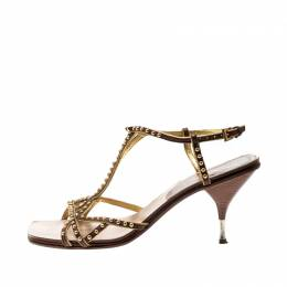 Prada Brown Leather Studded Strappy Sandals Size 38 209117