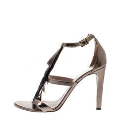 Chloe Metallic Leather Fringe Detail Ankle Strap Sandals Size 40 209112