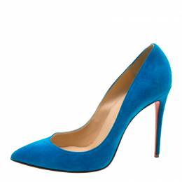 Christian Louboutin Blue Suede Pointed Toe Pumps Size 39 208875
