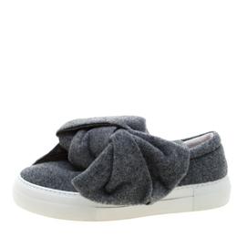 Joshua Sanders Grey Felt Bow Slip On Sneakers Size 37 209269