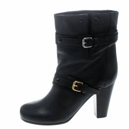 Chloe Black Leather Prince Mid Calf Boots Size 39 168302