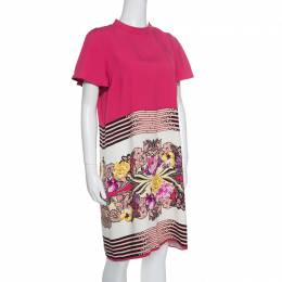 Etro Floral and Geometric Print Mandarin Collar Shift Dress M 154839