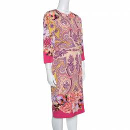 Etro Multicolor Printed Silk Draped Front Faux Wrap Dress L 154681