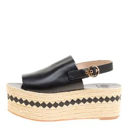 Tory Burch Black Leather Dandy Peep Toe Platform Espadrille Sandals Size 40 154419
