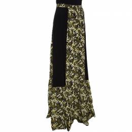 Etro Black and Yellow Floral Printed Silk Maxi Skirt S 149899