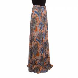 Etro Printed Multicolor Printed Knit Draped Maxi Skirt L 148297