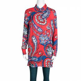 Mary Katrantzou Red Jewel Printed Silk Croft Tunic XS 138731