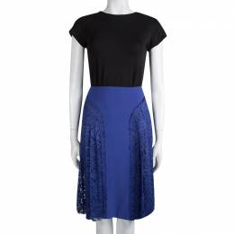 Joseph Cobalt Blue Pleated Lace Detail Courtney Skirt M 113015