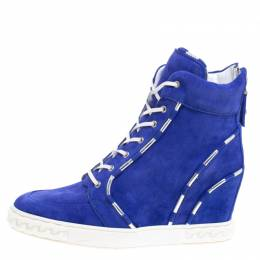 Casadei Blue Suede High Top Sneakers Size 38 106727