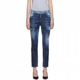Dsquared2 Blue Light Belt Under Patch Wash Cool Girl Jeans S75LB0190 S30342