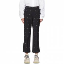 Tibi Navy Ant Embroidery Cropped Trousers P219AW3135