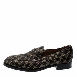 Tod's Metallic Black And Gold Brocade Fabric Slip On Loafers Size 42 209559
