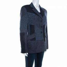 Escada Navy Blue Wool Blend Patchwork Blazer XL 209413