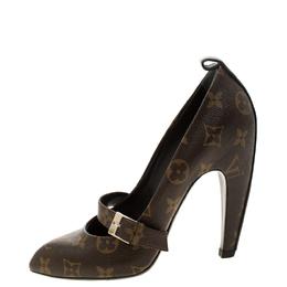 Louis Vuitton Monogram Canvas Pointed Toe Strap Pumps Size 35.5 208602