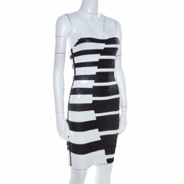 Hervé Leger Black and White Sequined Piano Strapless Cocktail Dress XS Herve Leger 209250