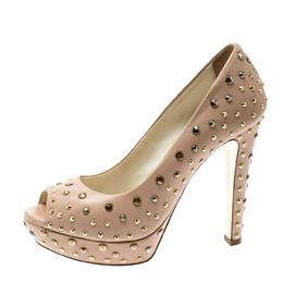 Loriblu Beige Leather Stud Embellished Peep Toe Platform Pumps Size 38 209815