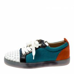 Christian Louboutin Multicolor Mesh And Leather AC Viera Spiked Orlato Low Top Sneakers 35 209478