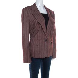 Escada Burgundy Wool and Silk Blend Single Button Blazer XL 209293