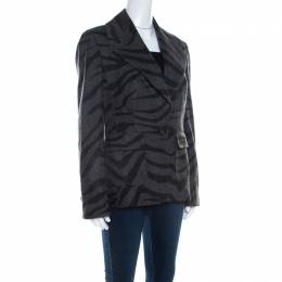 Escada Grey Cashmere Wool Animal Pattern Single Button Blazer M