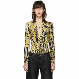 Versace Black and Yellow Heritage Stamp Deep-V Bodysuit A83753A231037
