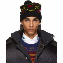 Gucci Black and Yellow Wool Beanie 574456 4G206