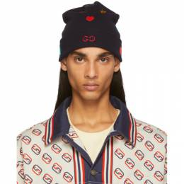 Gucci Navy Symbols Beanie 581640 4G206