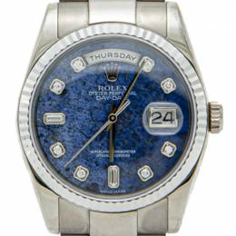 Rolex Blue Lapis Stone Dial Full White Gold Day Date Diamond Dial Men's Watch 36MM