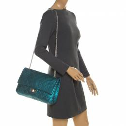 Chanel Metallic Turquoise Quilted Leather Jumbo Reissue 2.55 Classic 227 Flap Bag 208095