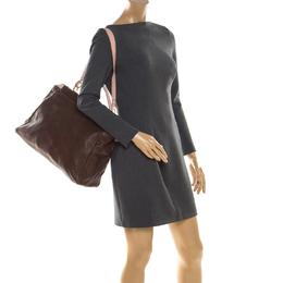 Fendi Brown/Pink Selleria Leather Large Peekaboo Top Handle Bag 206478