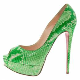 Christian Louboutin Green Python Lady Peep Toe Platform Pumps Size 37.5 4578