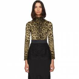 Dolce&Gabbana Brown Silk Leopard Print Turtleneck F73V9T FSADD