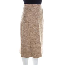 Escada Beige Wool Tweed Paneled A Line Skirt L 209779