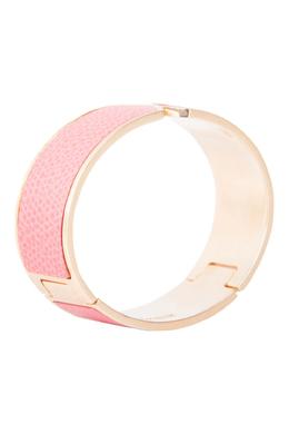 Valextra Pink Leather Gold Tone Hinged Bracelet 209567