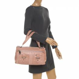 Marc Jacobs Peach Leather Double Buckle Pocket Boston Bag 208290
