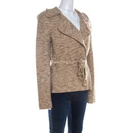Escada Beige Wool Tweed Double Breasted Belted Jacket L 209750