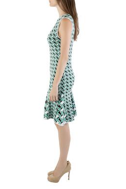 Zac Zac Posen Multicolored Knit Geometric Pattern Godet Dress S 209795