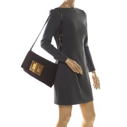 Tom Ford Dark Brown Nubuck leather Natalia Convertible Clutch 209108