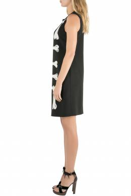 Moschino Cheap and Chic Black Crepe Skeleton Print Dress S 209729
