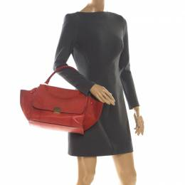 Celine Red Python and Suede Medium Trapeze Bag 209132