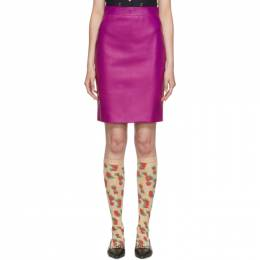 Gucci Pink Leather Pencil Skirt 573098XNAET