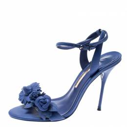 Sophia Webster Blue Leather Lilico Ankle Strap Sandals Size 39.5
