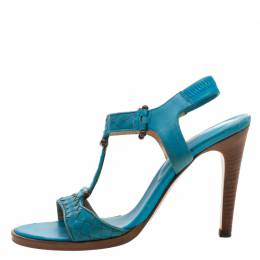 Bottega Veneta Blue Intrecciato Leather T Strap Sandals Size 37 209454