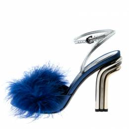 Marco De Vincenzo Blue Marabou Feathers Embellished Ankle Strap Sandals Size 36.5