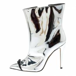 Marco De Vincenzo Metallic Silver Leather Bow Detail Pointed Toe Boots Size 39.5