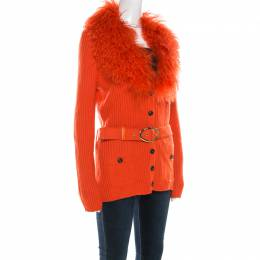 Escada Orange Silk Wool Detachable Fuzzy Collar Detail Belted Cardigan L 209853