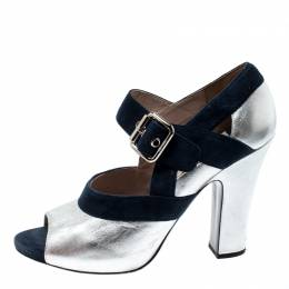 Miu Miu Metallic Silver Leather And Blue Suede Mary Jane Peep Toe Pumps Size 38.5 210721