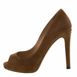 Valentino Brown Suede Peep Toe Pumps Size 36.5 210447