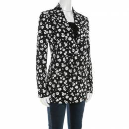 Dolce&Gabbana Black and White Floral Printed Crepe Tailored Blazer S