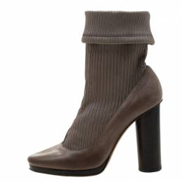 Dolce&Gabbana Grey Leather Ankle Boots Size 38 209508