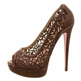 Christian Louboutin Brown Floral Laser Cut Leather Pampas Platform Pumps Size 39 208920
